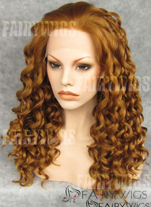 Online Wigs Medium Blonde Female Wavy Lace Front Hair Wig 16 Inch