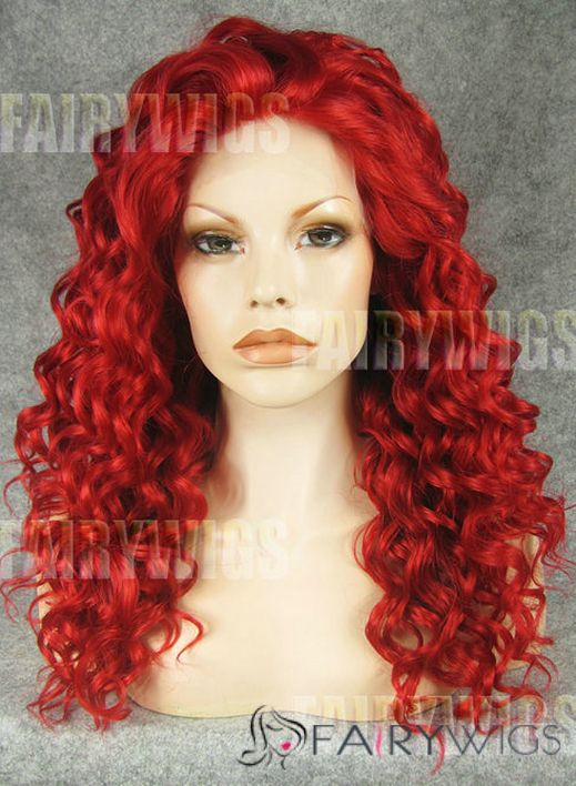 Soft Long Red Female Wavy Lace Front Hair Wig 20 Inch
