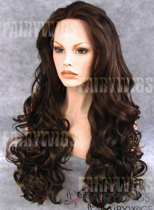 Delicate Long Brown Female Wavy Lace Front Hair Wig 22 Inch