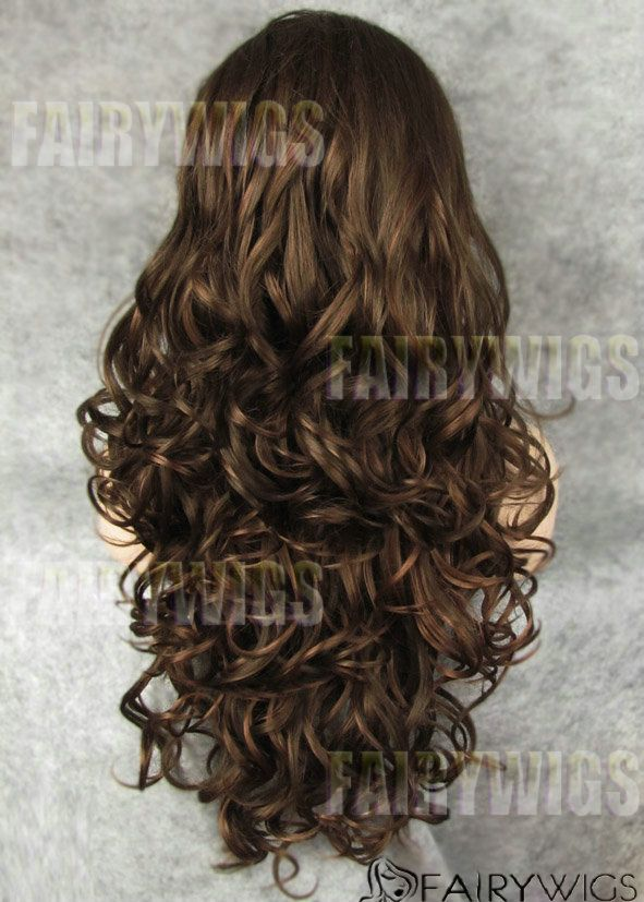 New Glamourous Long Brown Female Wavy Lace Front Hair Wig 24 Inch