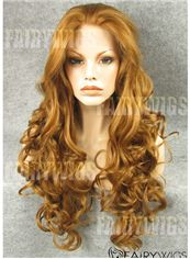 Online Long Blonde Female Wavy Lace Front Hair Wig 24 Inch