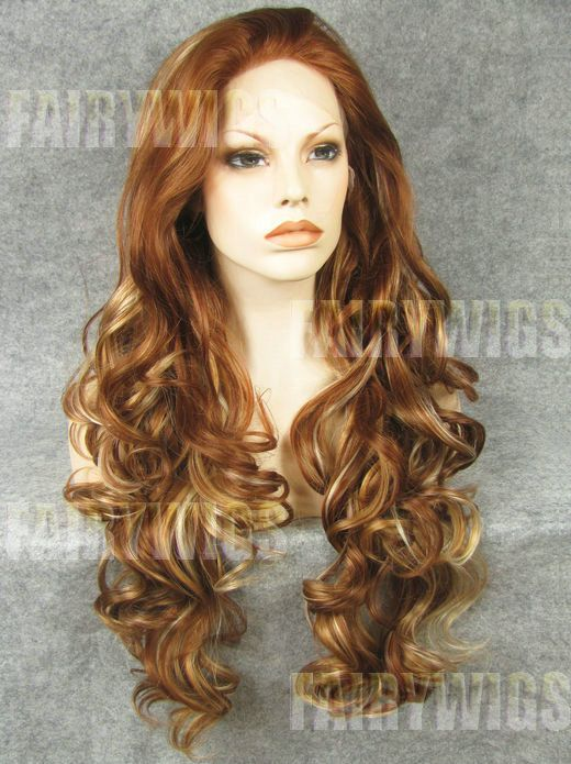 Hand Knitted Long Brown Female Wavy Hair Wig 24 Inch