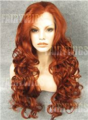 Inexpensive Long Red Female Wavy Lace Front Hair Wig 24 Inch
