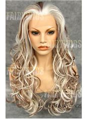 Custom Super Charming Long Blonde Female Wavy Lace Front Hair Wig