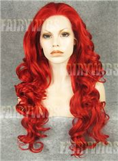 Online Wigs Long Red Female Wavy Lace Front Hair Wig 22 Inch