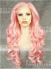 Marvelous Long Colored Female Wavy Lace Front Hair Wig 24 Inch