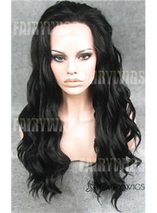 Unique Long Sepia Female Wavy Lace Front Hair Wig 20 Inch
