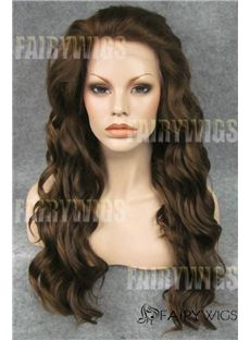 Top-rated Long Brown Female Wavy 20 Inch Lace Front Hair Wig