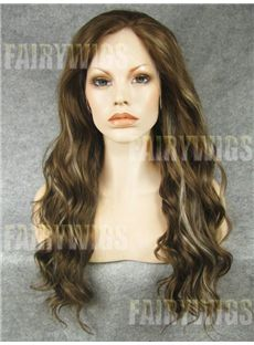 Simple Long Brown Female Wavy Lace Front Hair Wig 20 Inch