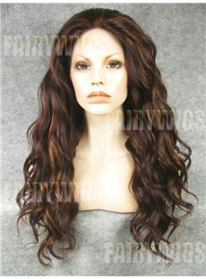 Discount Long Brown Female Wavy Lace Front Hair Wig 22 Inch