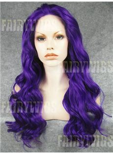 New Fashion Long Colored Female Wavy Lace Front Hair Wig 22 Inch