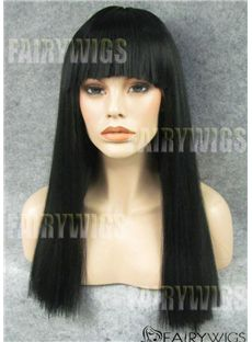 Dynamic Feeling from Long Black Female Straight Lace Front Hair Wig 20 Inch