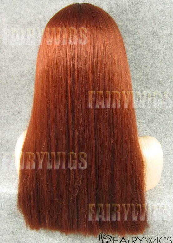 Dynamic Feeling from Long Red Female Straight Lace Front Hair Wig 22 Inch
