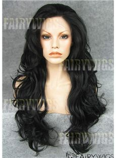 Quality Wigs Long Black Female Wavy Lace Front Hair Wig 22 Inch