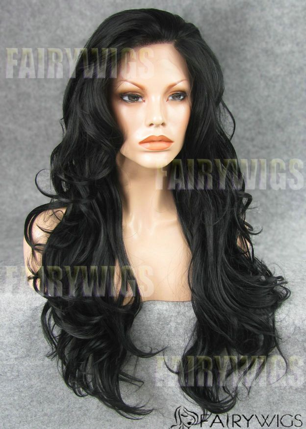 Quality Wigs Long Black Female Wavy Lace Front Hair Wig 22 Inch ...