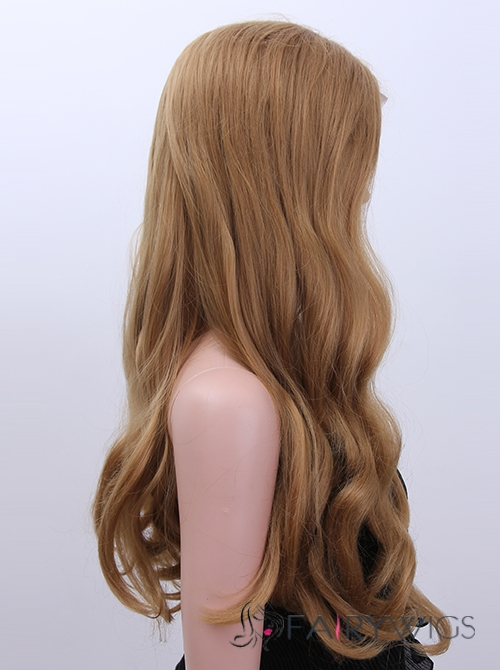 Multi-function Long Sepia Female Wavy Lace Front Hair Wig 24 Inch