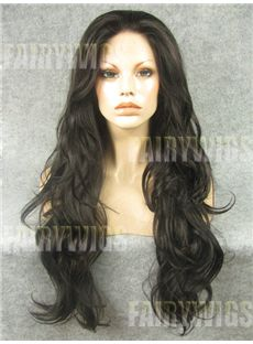 Best Long Sepia Female Wavy Lace Front Hair Wig 22 Inch
