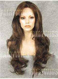 Grand Long Brown Female Wavy Lace Front Hair Wig 24 Inch