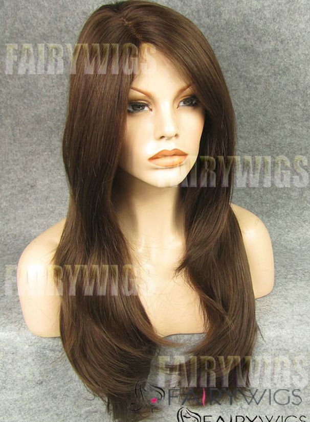 Wholesale Long Brown Female Straight Lace Front Hair Wig 22 Inch
