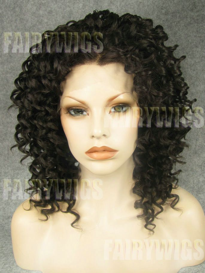 Impressive Medium Sepia Female Curly Lace Front Hair Wig 14 Inch