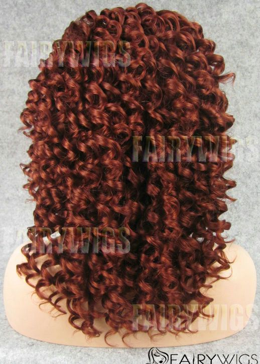 Online Wigs Medium Red Female Curly Lace Front Hair Wig 14 Inch