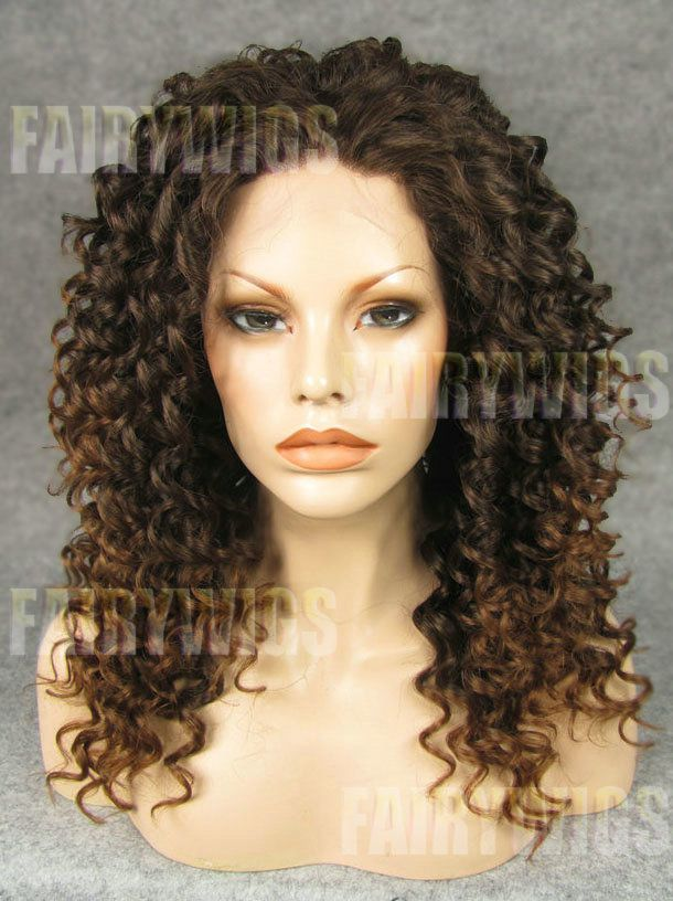 Sweety Medium Brown Female Curly Lace Front Hair Wig 18
