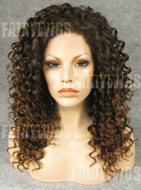Sweety Medium Brown Female Curly Lace Front Hair Wig 18 Inch