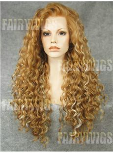 Stunning Long Blonde Female Wavy Lace Front Hair Wig 24 Inch
