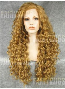 Mysterious Long Blonde Female Wavy Lace Front Hair Wig 24 Inch