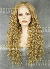 Dainty Long Blonde Female Wavy Lace Front Hair Wig 24 Inch