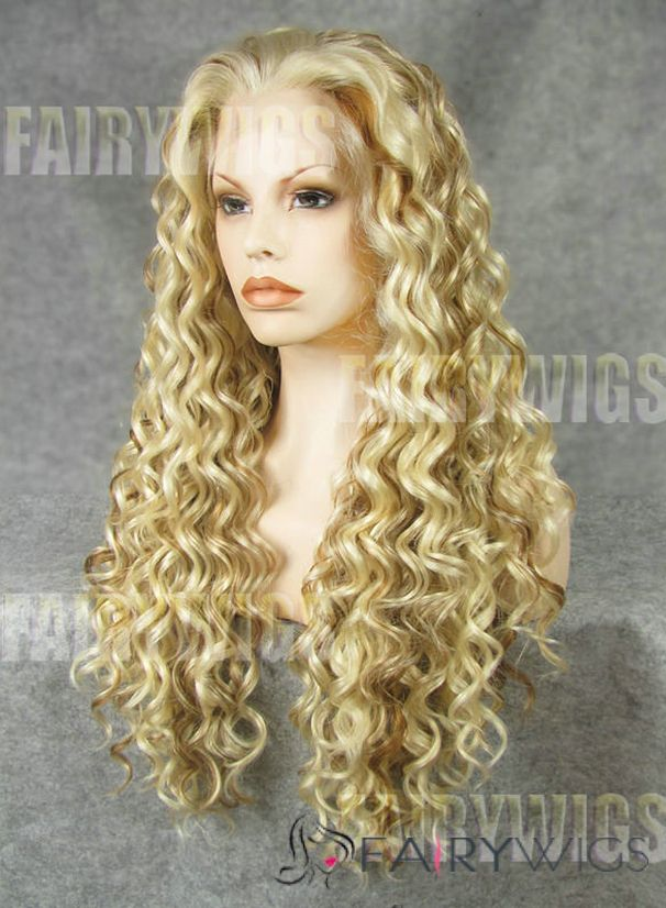 Noble Long Blonde Female Wavy Lace Front Hair Wig 22 Inch
