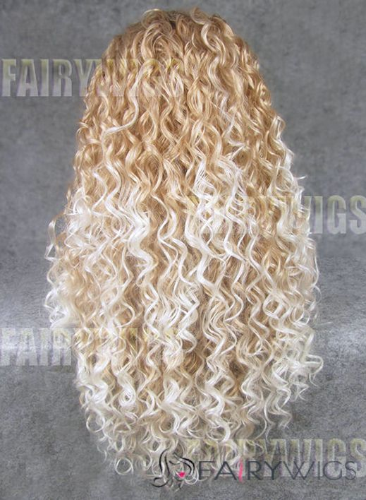 Glitter Long Blonde Female Wavy Lace Front Hair Wig 22