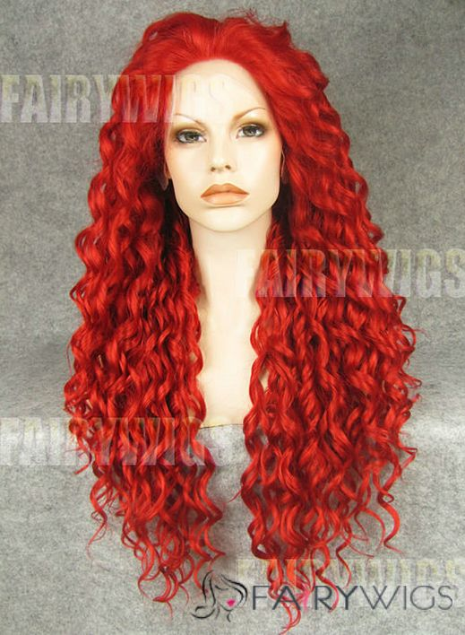 Classic Long Red Female Wavy Lace Front Hair Wig 22 Inch ...