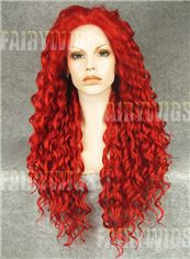 Classic Long Red Female Wavy Lace Front Hair Wig 22 Inch