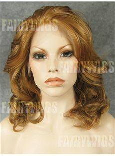 Medium Brown Female Wavy Lace Front Hair Wig 14 Inch