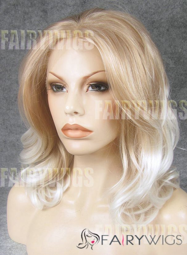 Stylish Medium Blonde Female Wavy Lace Front Hair Wig 14 Inch
