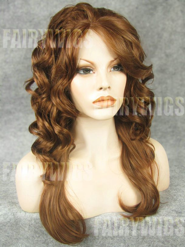 Quality Wigs Long Brown Female Wavy Lace Front Hair Wig