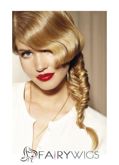 Hand Tied Medium Blonde Female Wavy Celebrity Hairstyle 18 Inch