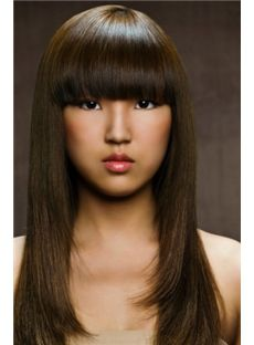 Natural Long Sepia Female Straight Celebrity Hairstyle 20 Inch