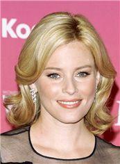 Sparkling Short Blonde Female Wavy Celebrity Hairstyle 12 Inch