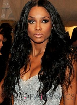 Natural Long Black Female Wavy African American Wigs for Women 24 Inch