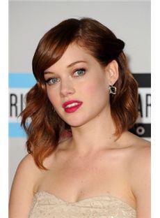 Dainty Medium Brown Female Wavy Celebrity Hairstyle