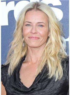 Fashion Medium Blonde Female Wavy Celebrity Hairstyle 18 Inch
