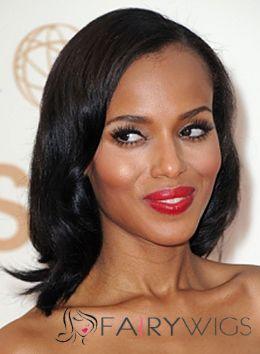 Stunning Medium Sepia Female Wavy African American Wigs for Women 14 Inch