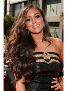 Faddish Long Brown Female Wavy Celebrity Hairstyle