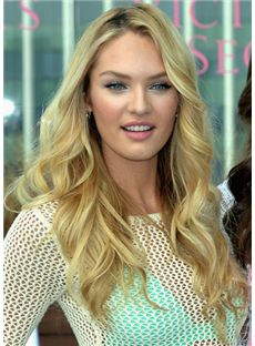 Popurlar Long Blonde Female Wavy Celebrity Hairstyle 20 Inch
