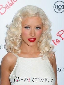 Ingenious Medium Blonde Female Wavy Celebrity Hairstyle 14 Inch