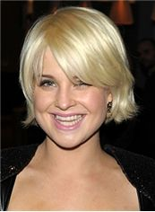 European Style Short Blonde Female Wavy Celebrity Hairstyle 8 Inch