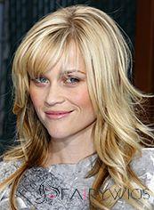 New Style Medium Blonde Female Wavy Celebrity Hairstyle 18 Inch
