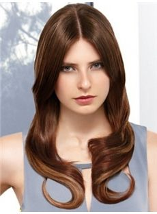 Lustrous Long Brown Female Wavy Celebrity Hairstyle 20 Inch